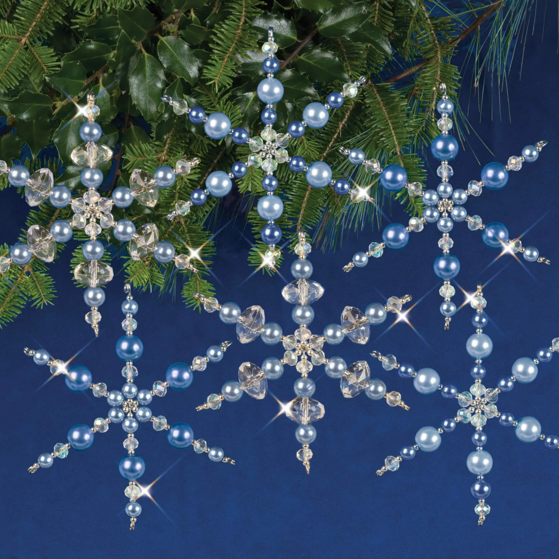 Solid Oak Beaded Ornament Kit Crystal Blue Snowflakes
