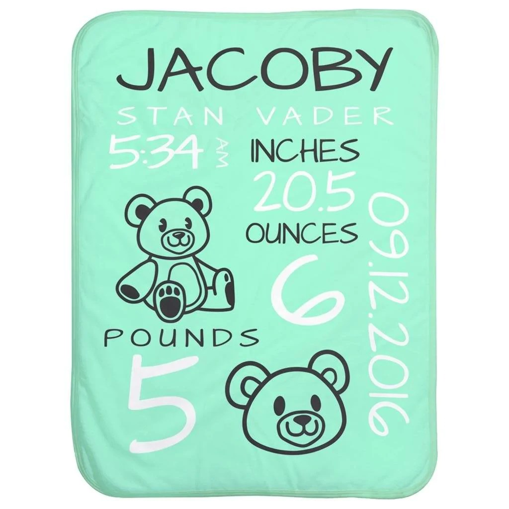 personalized baby stats teddy