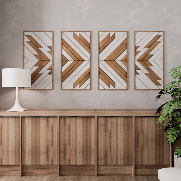 native pattern wood wall art set large wooden wall art modern rustic wood wall art set of 4 wall art panels
