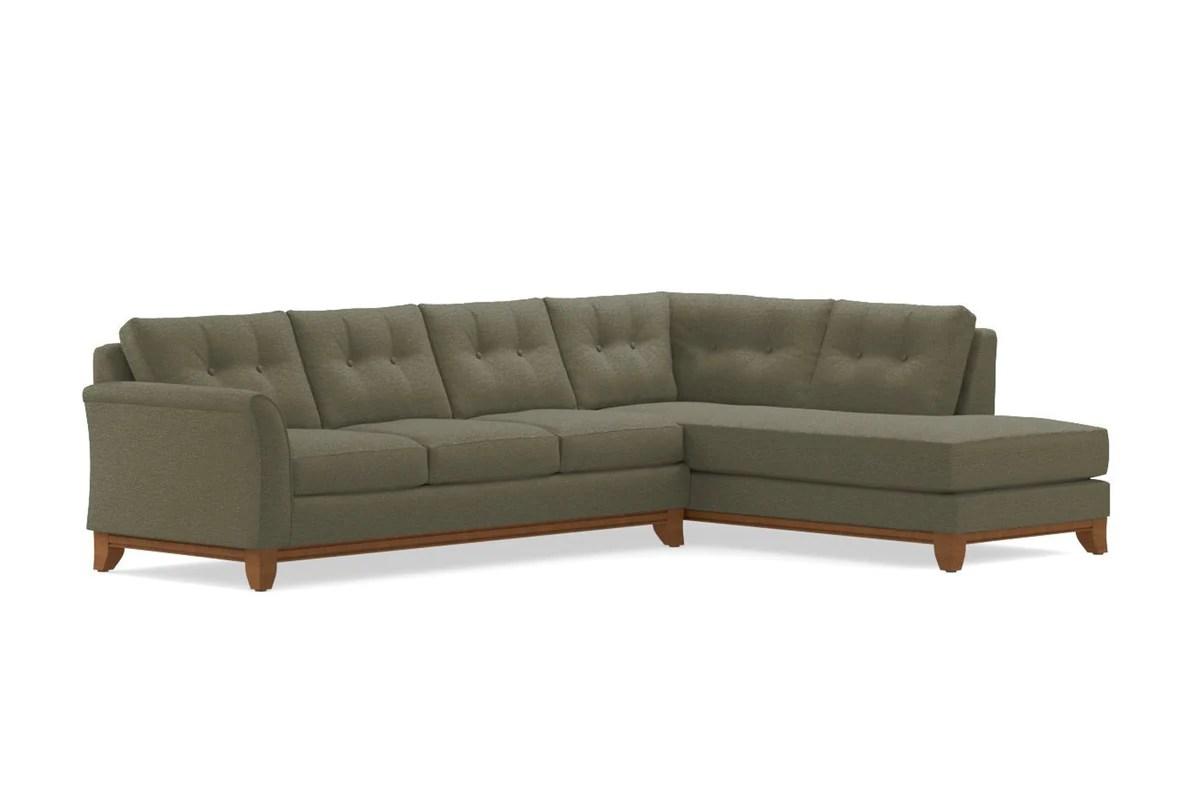 moss studio sofa reviews contemporary legs marco 2pc sectional choice of fabrics apt2b leg finish pecan configuration raf chaise