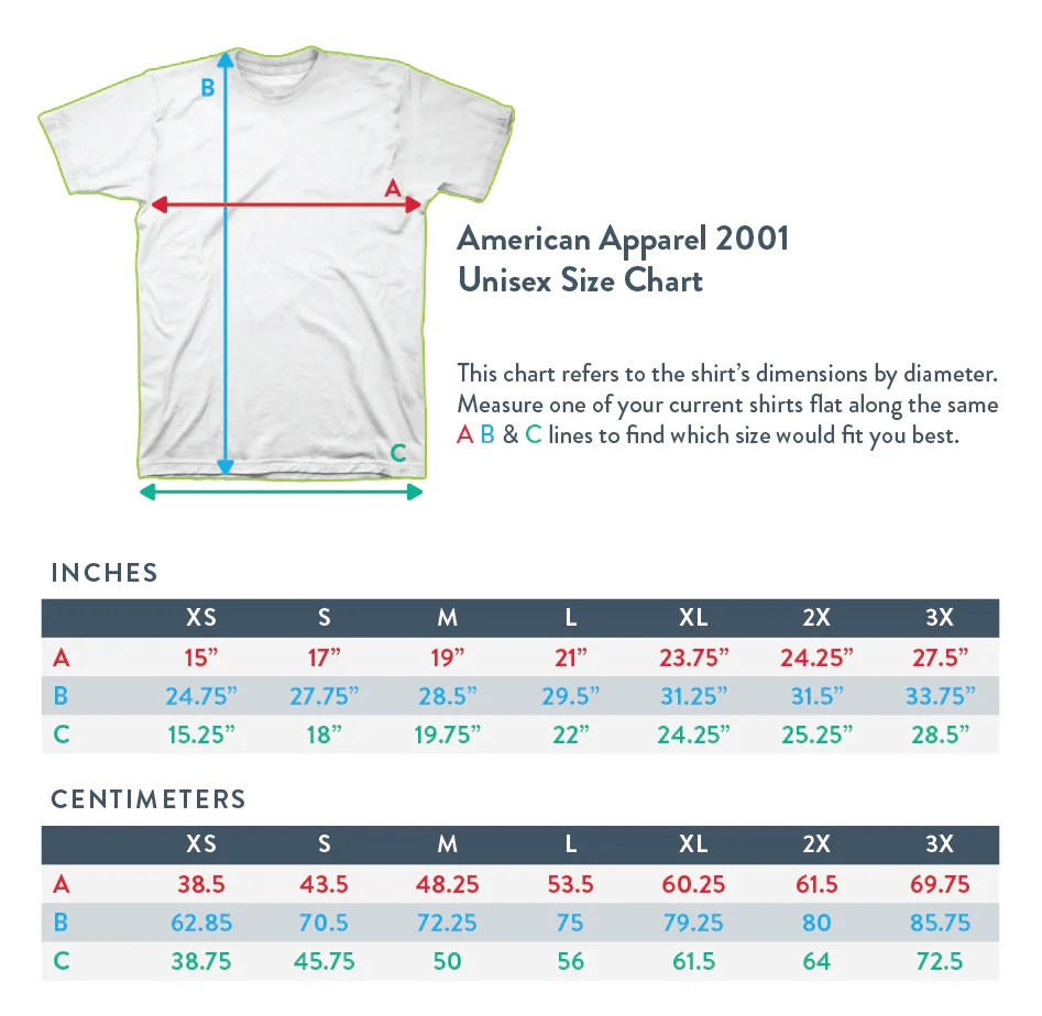 American apparel aa percent cotton also merchandise sizing and information fangamer rh