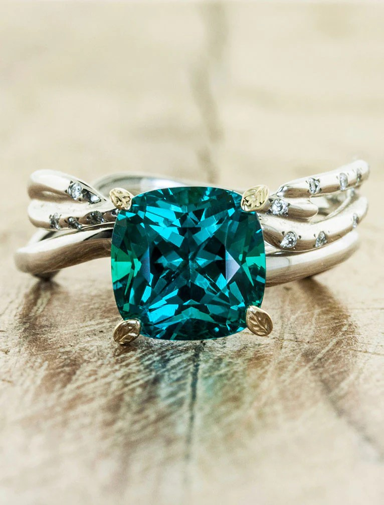 Nicci Cushion Cut Emerald Asymmetrical Wave Band Ken Amp Dana