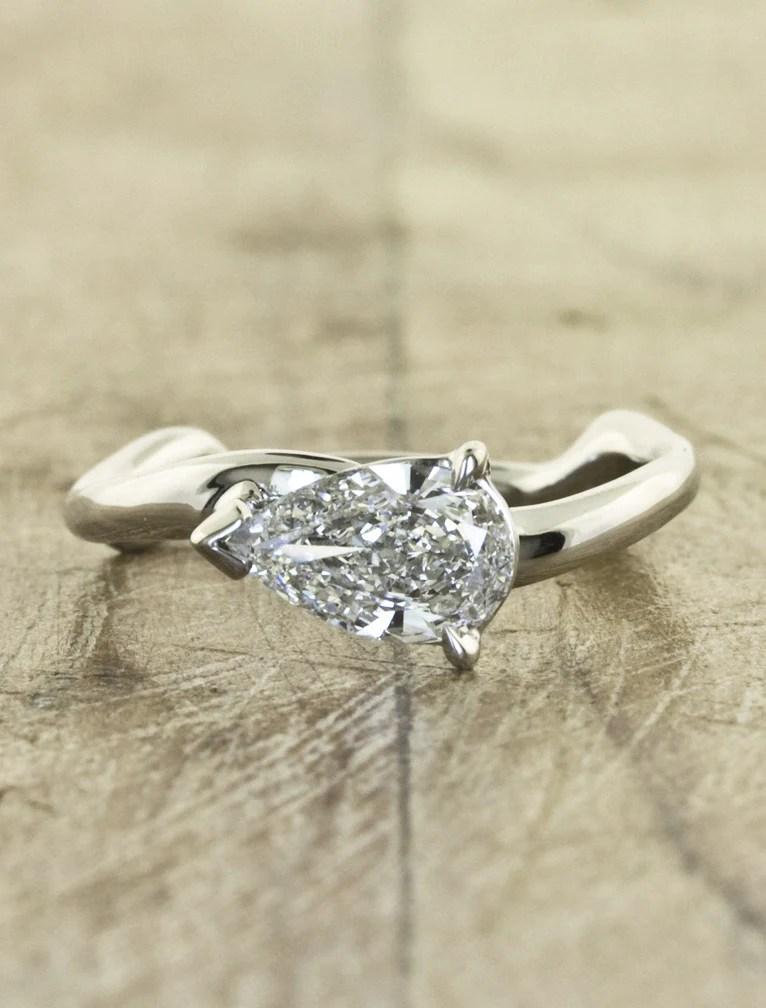Aurora Pear Sculptural Pear Shaped Diamond Ring Ken