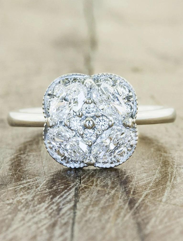 Chloe Diamonds FlowerInspired Engagement Ring  Ken  Dana Design