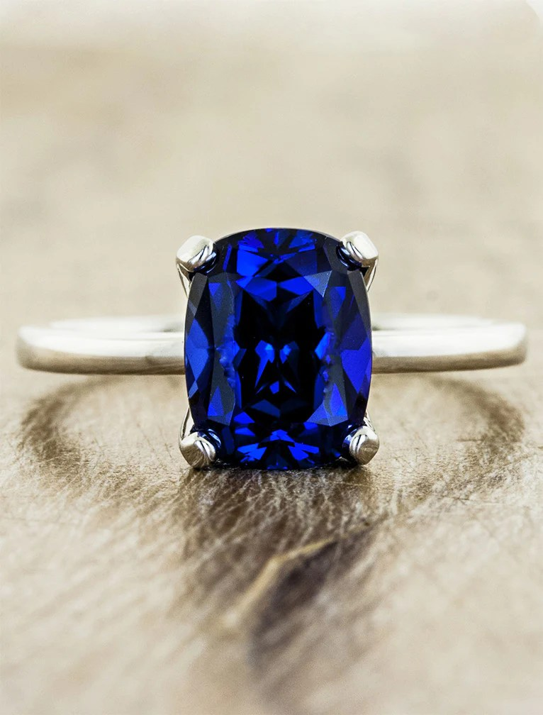 Heather Modern Cushion Cut Blue Sapphire Engagement Ring
