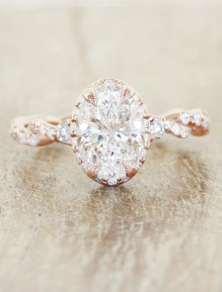 Dory Oval Diamond in Rose Gold Twisted Band Ken Dana