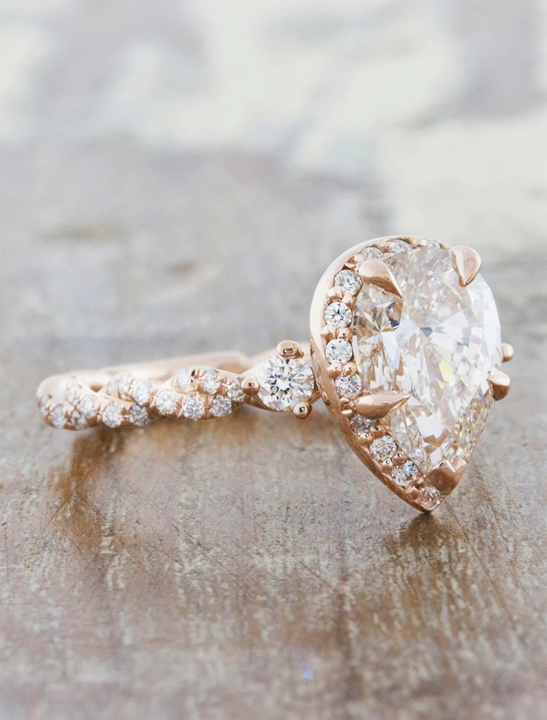 Nolah Pear Shaped Diamond in Rose Gold Twisted Band  Ken