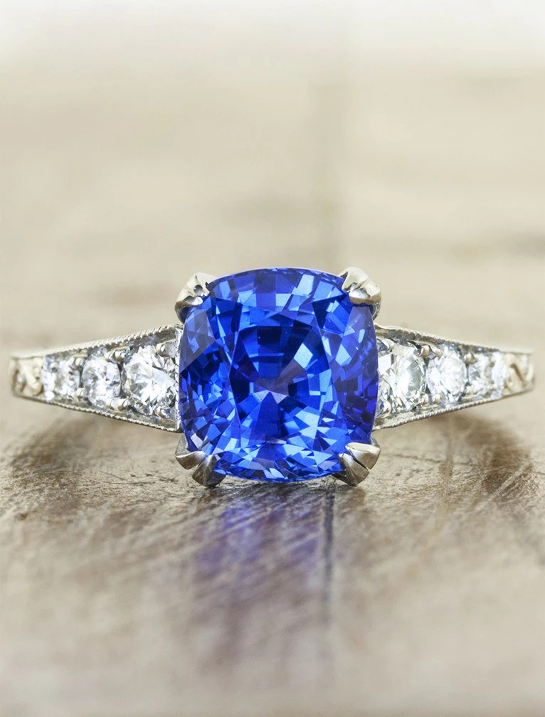 Vanessa VintageInspired Cushion Cut Sapphire Ring  Ken