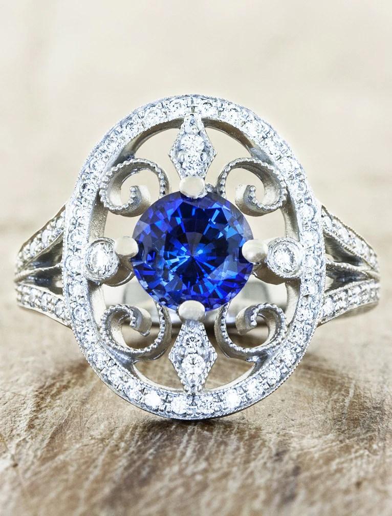 Annalise Vintage Inspired Sapphire Engagement Ring Ken Amp Dana Design
