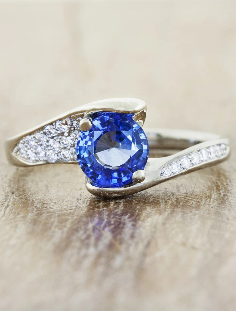 Genevieve Asymmetrical Band Ring Sapphire Amp Diamonds Ken Amp Dana