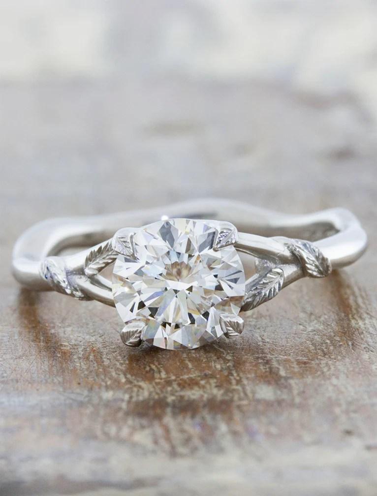 Pembroke Leaf Prong Diamond Engagement Ring Rose Gold