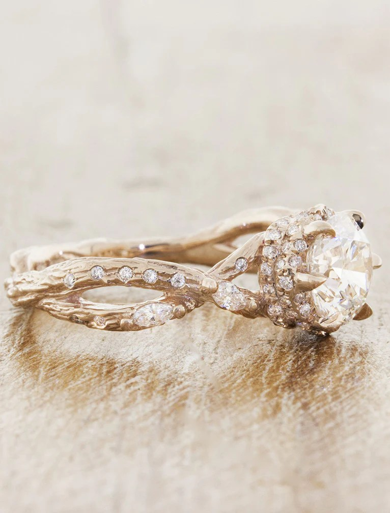 Renna Nature Inspired Rose Gold Infinity Band Engagement Ring