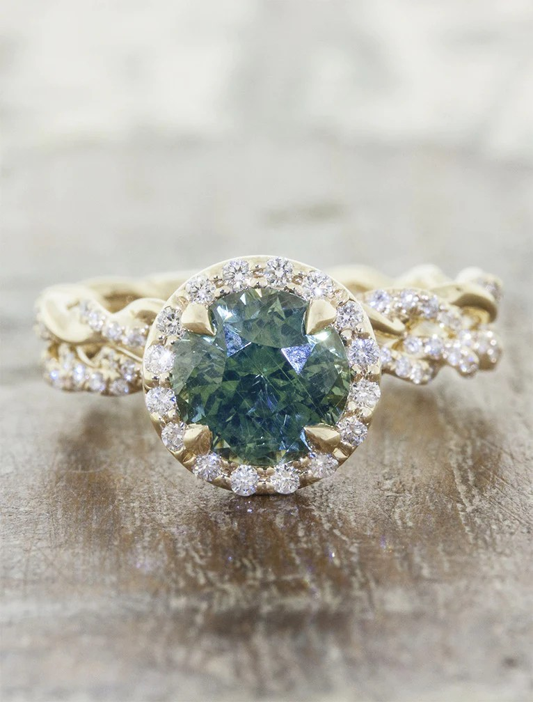 Kari Rope Band Montana Sapphire Engagement Ring  Ken  Dana Design
