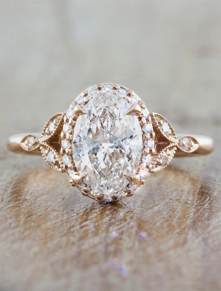 Rachael Diamond Oval Diamond Rose Gold Engagement Ring