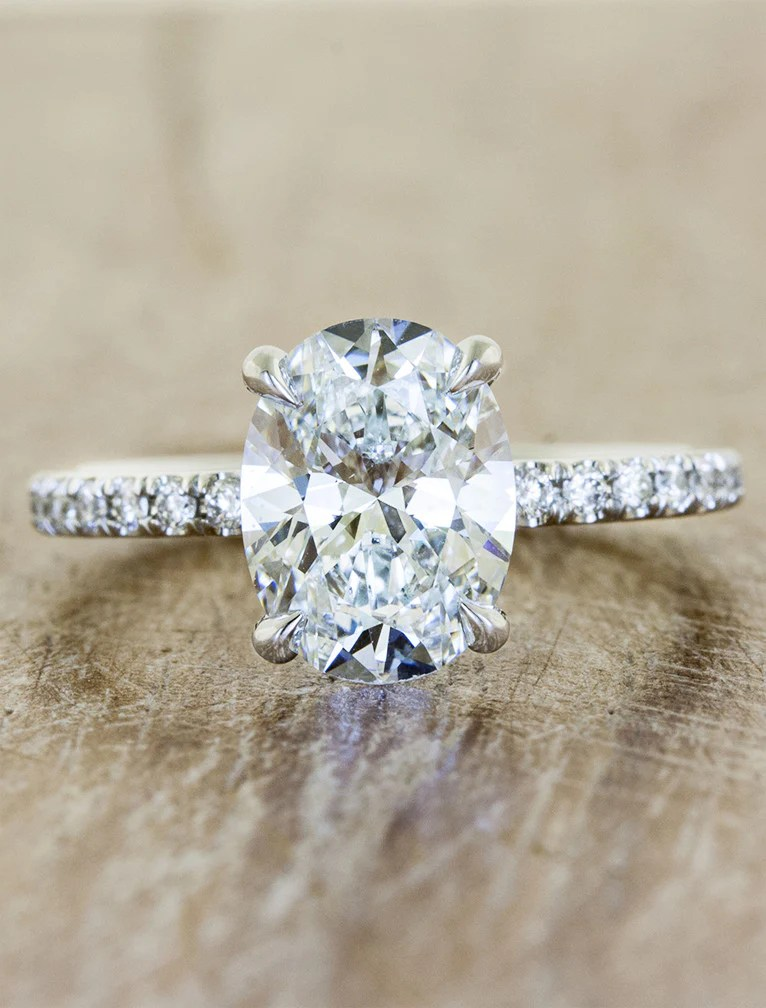 Jessie Oval Diamond Engagement Ring Pave Band  Ken  Dana Design