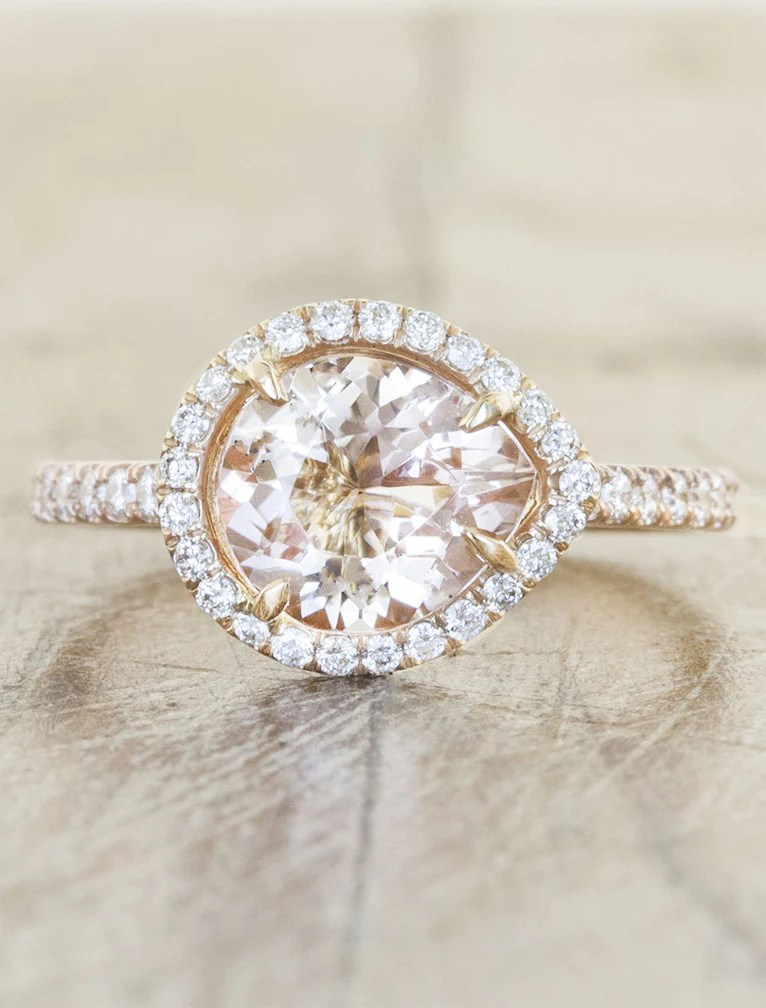 Penelope Halo Pear Shaped Pink Morganite Ring Ken