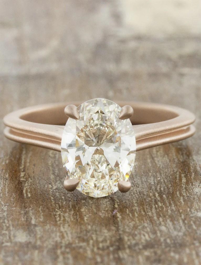 Queenie Modern Rose Gold Oval Diamond Ring Ken Amp Dana Design