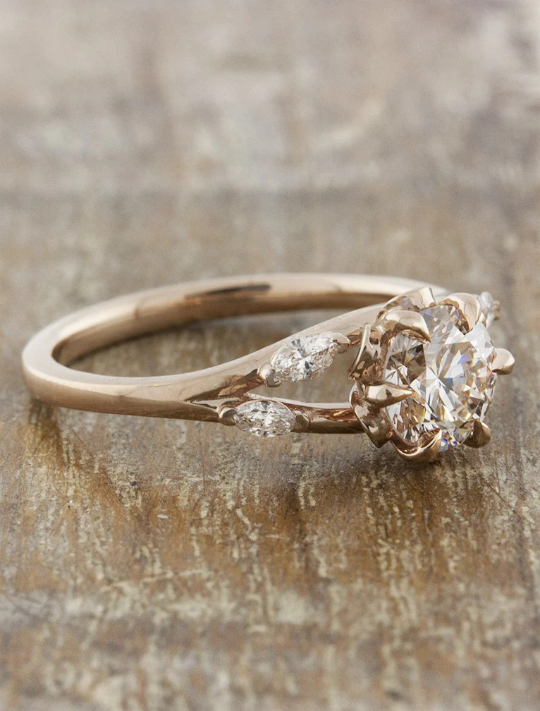 Anya Nature Inspired Rose Gold Engagement Ring Ken Amp Dana Design
