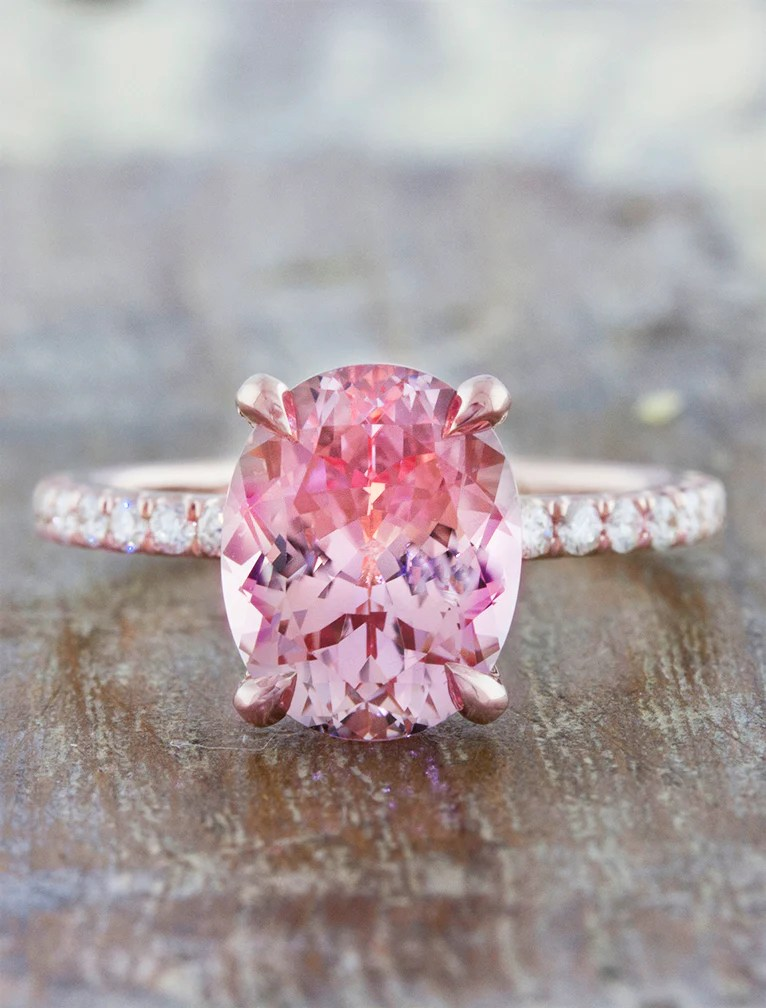 Delphine Sapphire Oval Pink Sapphire Engagement Ring Ken Amp Dana Design