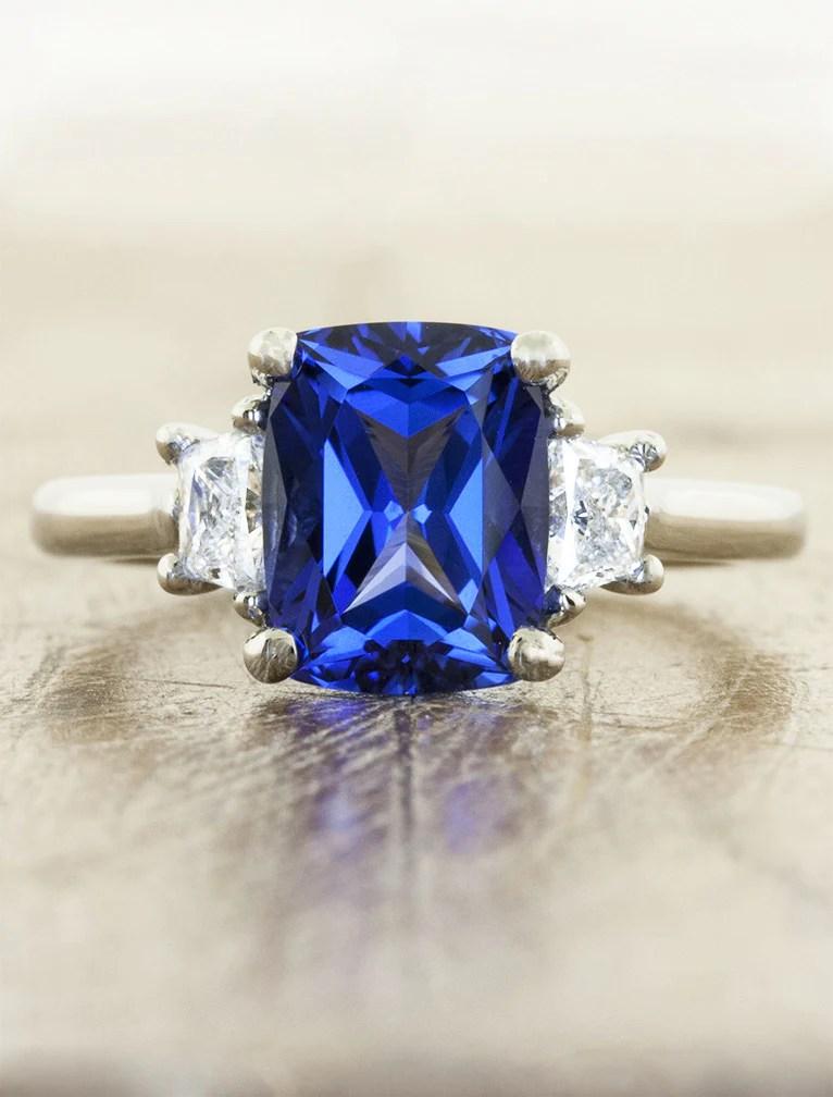 Alamina LabCreated Blue Sapphire Engagement Ring  Ken  Dana Design