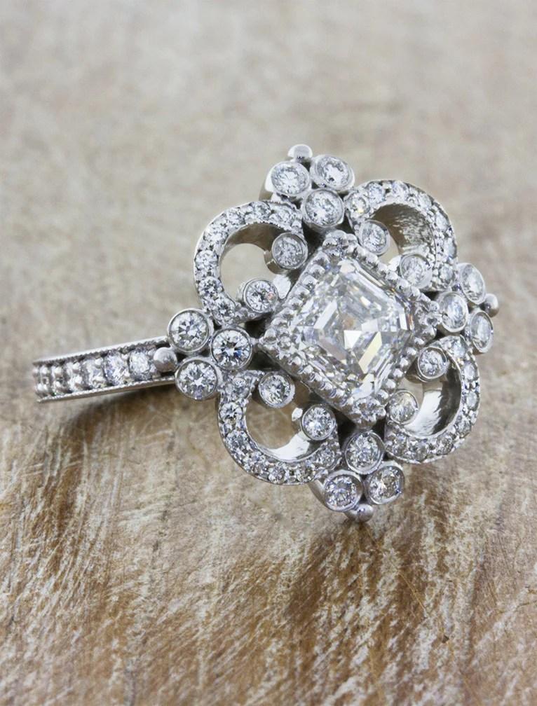 Florence Vintage Inspired Asscher Cut Diamond Engagement