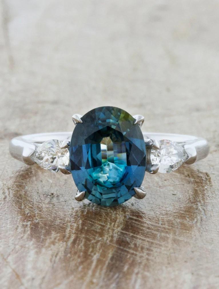 Permelia Oval Blue Green Sapphire Three Stone Ring Ken Amp Dana