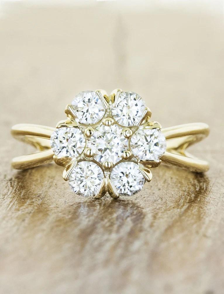 Pari Flower Shaped Diamond  Gold Engagement Ring  Ken