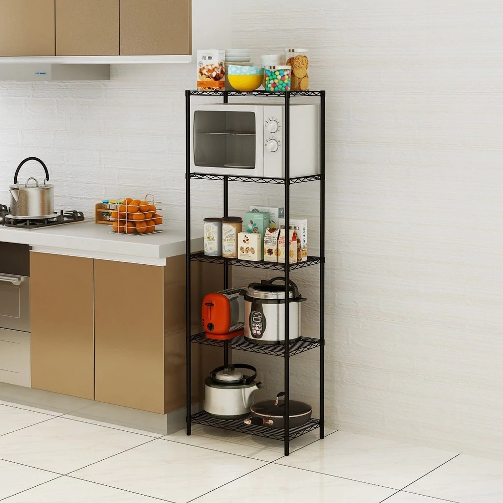 5 Tier Wire Shelving 5 Shelves Unit Metal Storage Rack Durable Organizer Perfect For Pantry Closet Kitchen Laundry Organization 5 Tier Wire Shelving 5