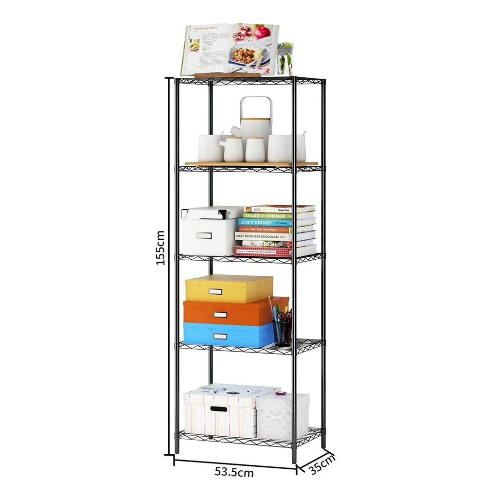 5 Tier Wire Shelving 5 Shelves Unit Metal Storage Rack