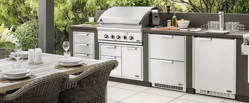 grill for outdoor kitchen island ideas small bbq outfitters your perfect you can t help but admire it s shiny stainless steel exterior and untainted cooking grids heck don even want to cook on