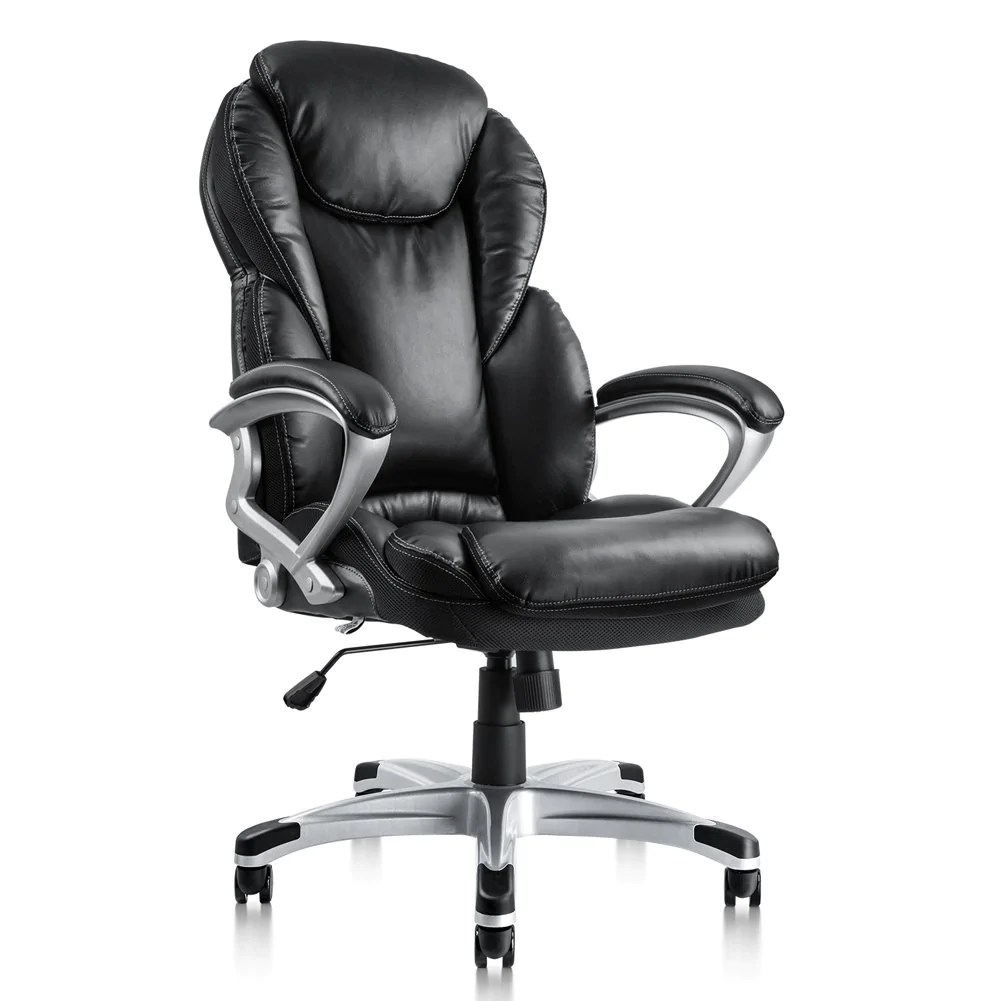 office chair ergonomic cushion with attached desk pto furniture executive thick bonded pu leather high back padded armrests swivel black