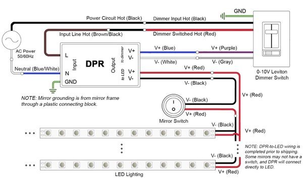 connections for standard and dimmable power regulators