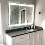Front Lighted Led Bathroom Vanity Mirror 56 X 40 Rectangular Mirrors Marble