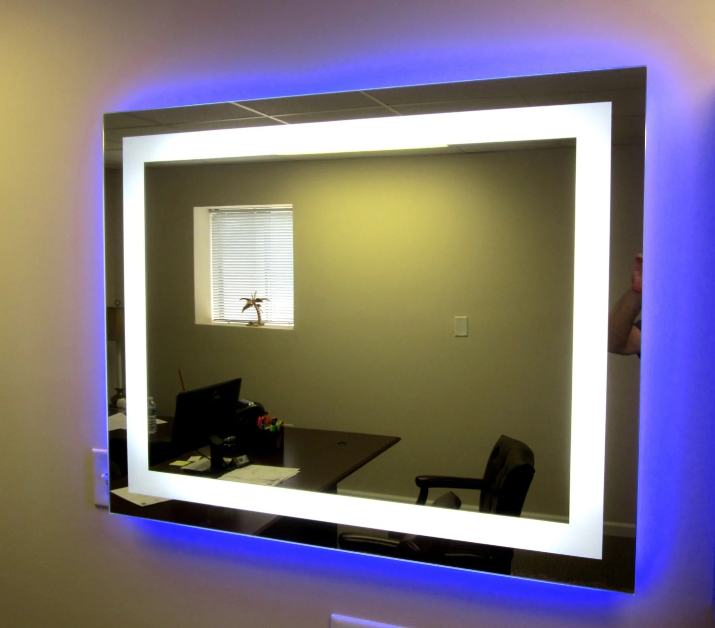 Add Perimeter Color Lighting  Blue  Large Mirrors