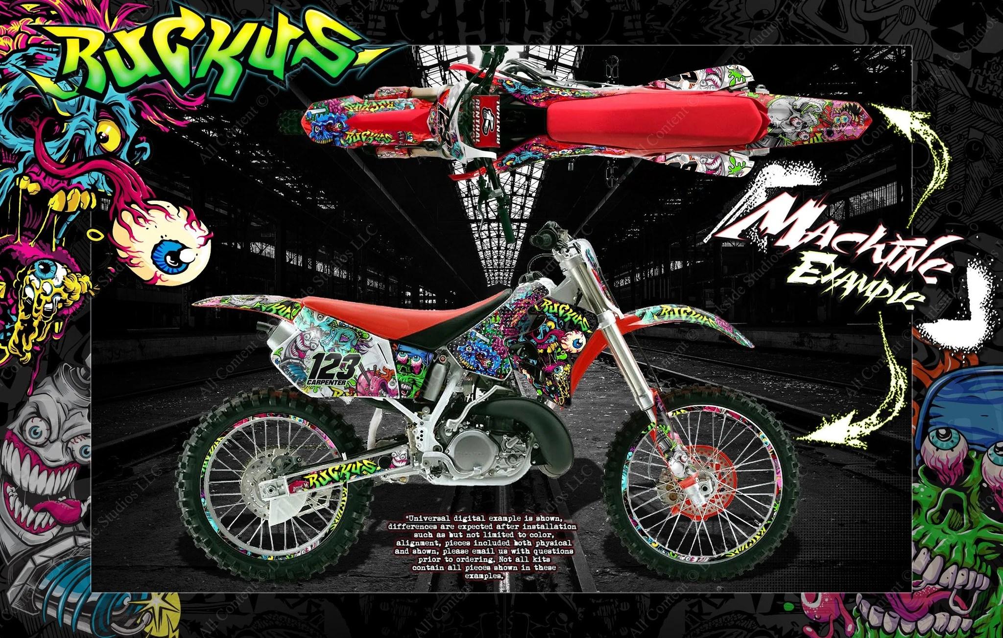 medium resolution of honda 1988 1999 cr125 cr250 graphics wrap ruckus decal kit with rim graphics