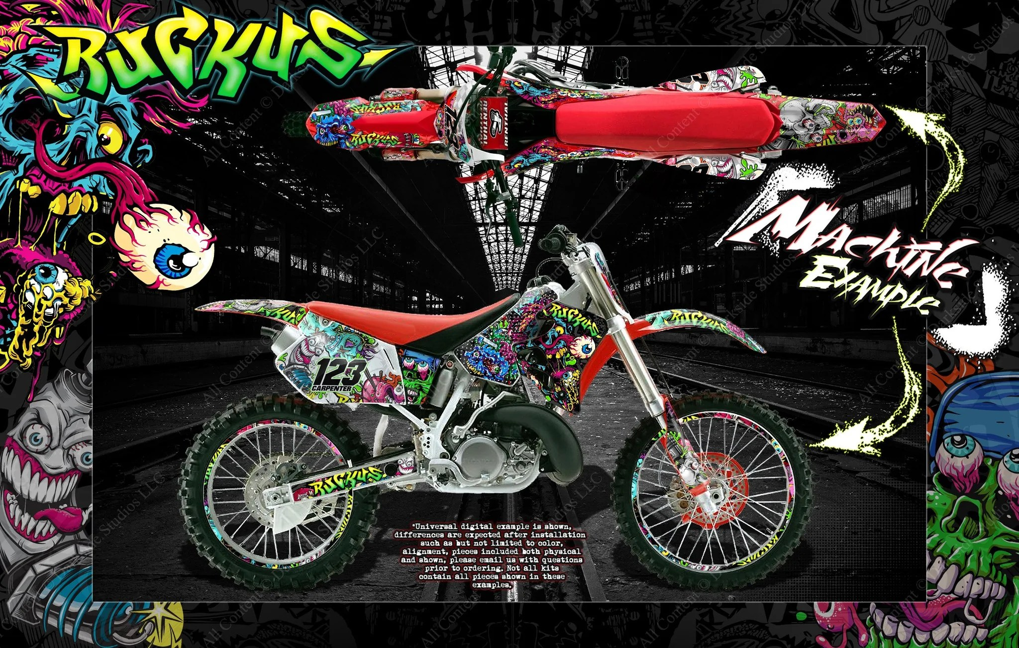hight resolution of honda 1988 1999 cr125 cr250 graphics wrap ruckus decal kit with rim graphics