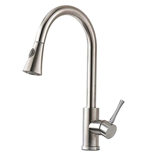 stainless kitchen faucet loud timer homy faucets with pull down sprayer sus304 steel brushed nickel hot