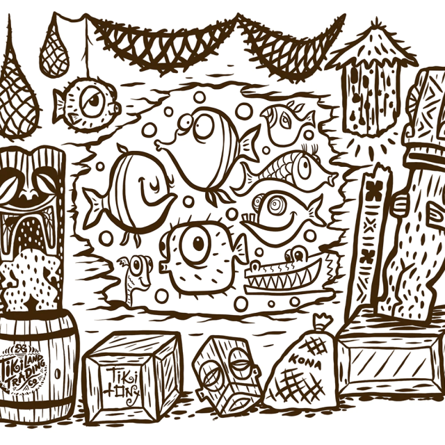 Free Coloring Page from Tiki tOny and TikiLand Trading Co. - April