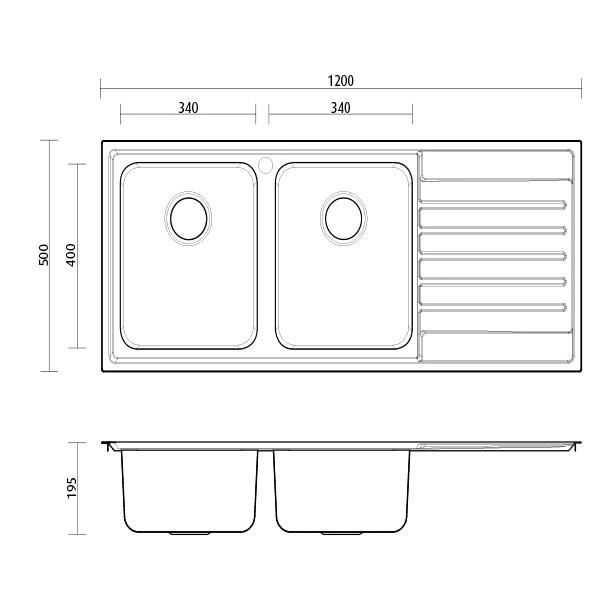 seima kubic double bowl kitchen sink 1 taphole left drainer