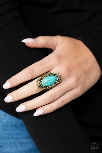 One of the most hectic jobs out there is working in retail. Paparazzi Desert Flavor - brass - Turquoise ring