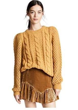 LOVESHACKFANCY Women's Cabled Rosie Sweater