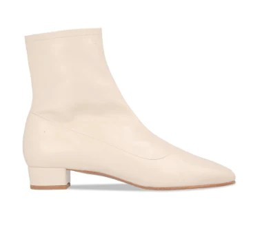 white leather ankle boot