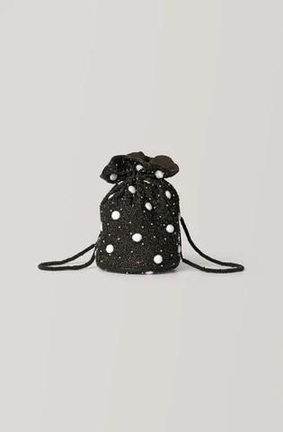 ganni beaded bucket bag