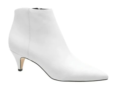 sam edelman pointed toe kitten heel white ankle boot