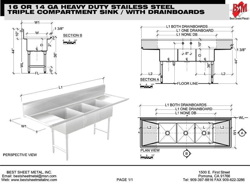 heavy duty stainless steel 14 gauge 0 0781 type 304 3 compartment restaurant commercial sink 105 3 4 with drain boards s10630 182412 3b