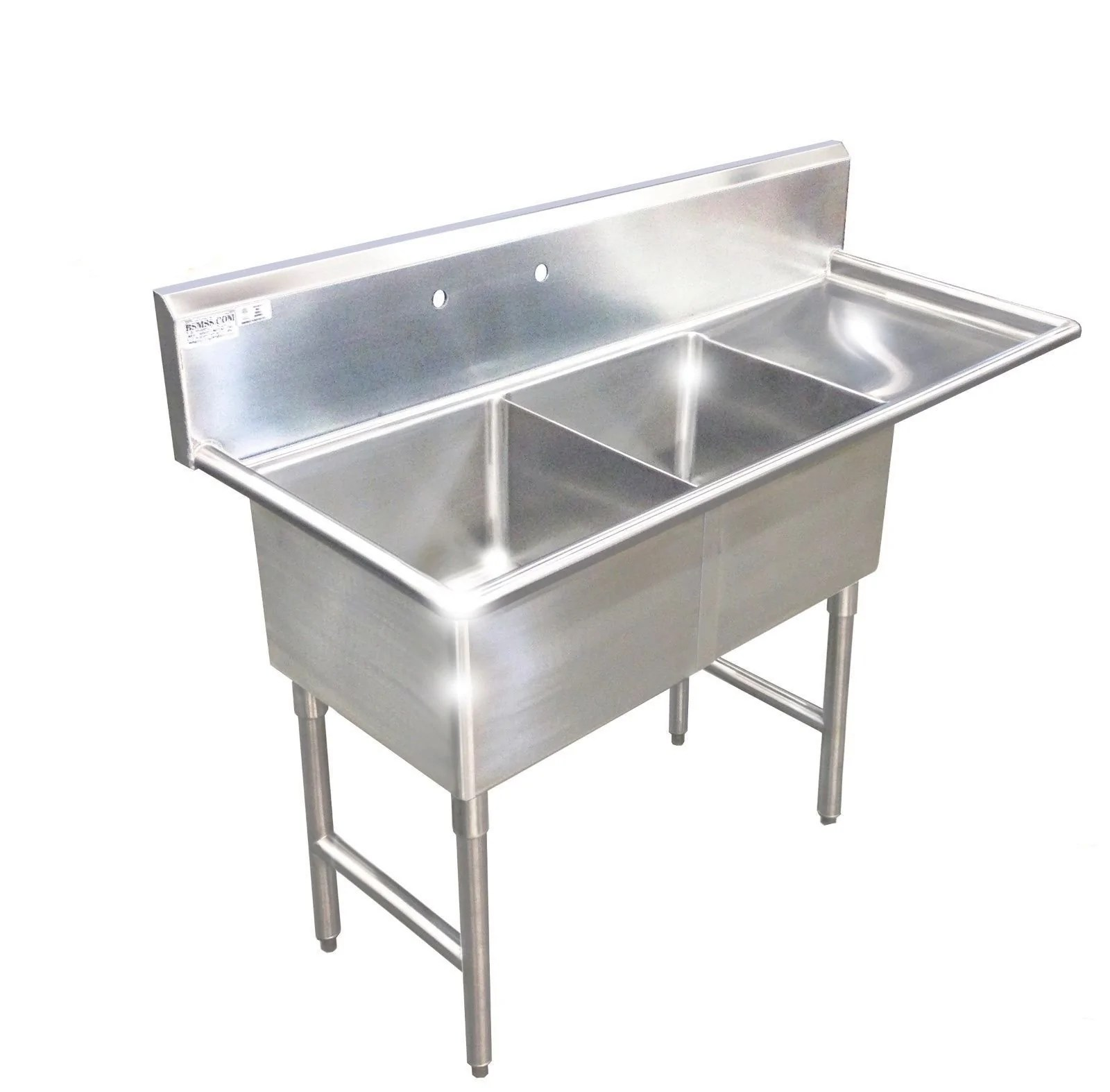 heavy duty stainless steel 14 gauge 0 0781 type 304 2 compartment restaurant commercial sink 56 1 2 with drain board s5624 181812