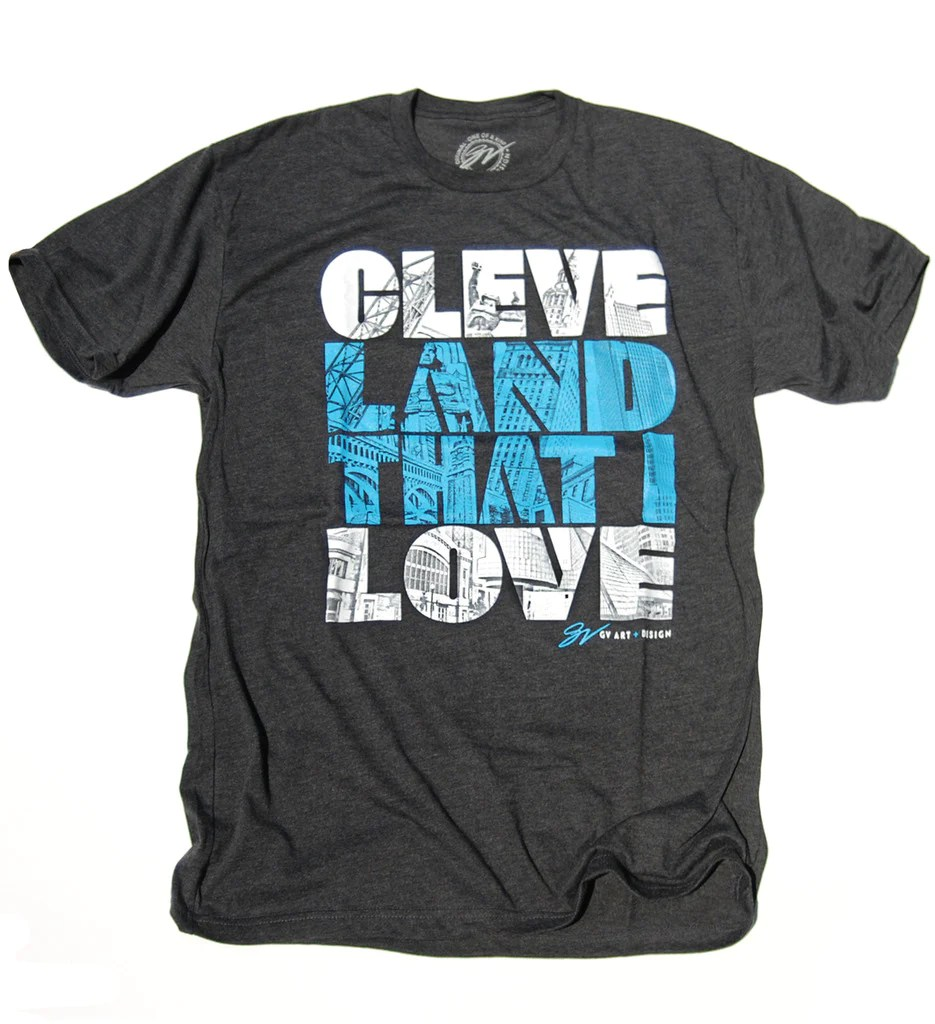 Cleveland Love Graphic T Shirt Grey Gv Art And Design