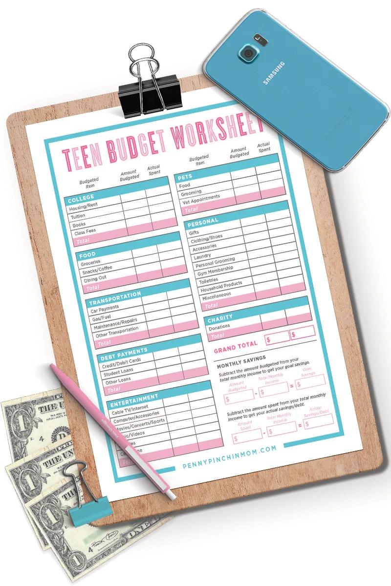 Printable Teen Budget Worksheet Penny Pinchin Mom Shop