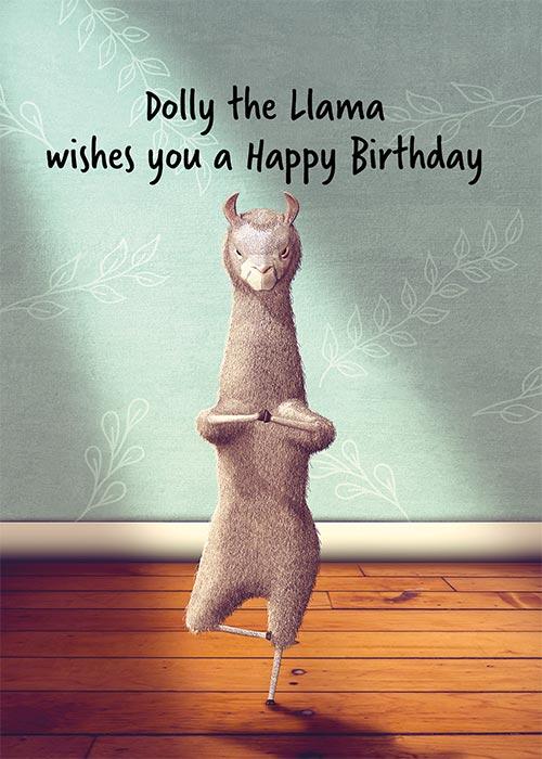 Dolly The Llama Funny Birthday Card St Thomas Greetings