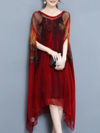 Casual Batwing Two Piece Plus Size Vintage Dress  fairymiss